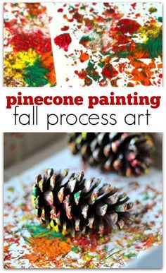 process art using pinecones to paint. Pinecone painting is the perfect fall process art activity for preschool or at home.Explore process art using pinecones to paint. Pinecone painting is the perfect fall process art activity for preschool or at home. Fall Crafts For Kids, Art For Kids, Fall Toddler Crafts, Fall Art For Toddlers, Spring Crafts, Kids Diy, Kids Crafts, Daycare Crafts, Thanksgiving Preschool Crafts