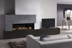 Dru Metro 130 XT balanced flue gas fire with feature fireplace