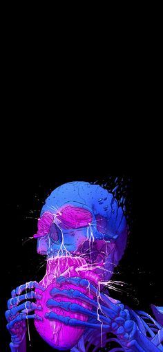 Goth Wallpaper, Wallpaper Animes, Trippy Wallpaper, Graphic Wallpaper, Aesthetic Iphone Wallpaper, Wallpaper Backgrounds, Aesthetic Wallpapers, Vaporwave Wallpaper, Skeleton Art