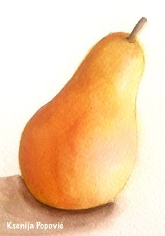 Watercolor pear by Ksenija Popovic, as taught by Martha Lever in her course Pearology.