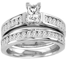 Princess Cut Diamond 0.32ct And Round Diamonds Bridal Ring Set (0.92ct. tw)-23145434