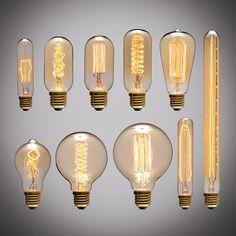 Retro Edison Light Bulb E27 220V 40W A19 A60 ST64 T10 T45 T185 G80 G95 filament ampoule vintage Incandescent bulb Edison Lamp  Price: 5.30 USD