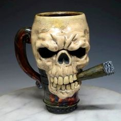 Coolest 53 Skull Coffee Mugs You'll Find Around - Number 48 Is My Favorite! Cigars And Whiskey, Good Cigars, Pipes And Cigars, Memento Mori, Cigar Art, Cigar Room, Grim Reaper, Skull And Bones, Mug Shots