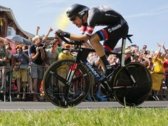 Tom Dumoulin of the Netherlands strains as he crosses the finish line of the first stage of the Tour de France.  Christophe Ena, AP