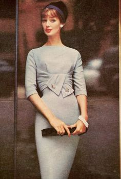 Dolores Hawkins - 1958 - Empire draped wool dress by R & K Originals - Hat by John Frederics - @~ Mlle