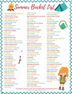 Summer bucket list - Over 100 ideas for kids teens families and adults! Includes crafts recipes and lots of fun activities indoors and outdoors. Summer Bucket List For Teens, Summer Fun List, Summer Kids, Summer Sun, Free Summer, Activities For Adults, Summer Activities For Kids, Family Activities, Camping Activities