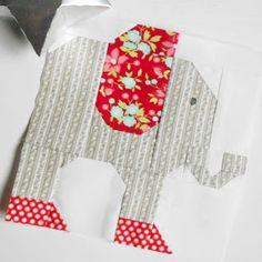 The Patchsmith: Patchsmith Sampler Block 37 - Elephant Mug Rug Patterns, Quilt Block Patterns, Pattern Blocks, Quilt Blocks, Hexagon Quilt, Bag Patterns, Elephant Quilt, Elephant Pattern, Baby Elephant