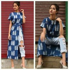Style kurti with jeans! Evergreen style for women! Indian Designer Outfits, Indian Outfits, Designer Dresses, Simple Kurti Designs, Kurta Designs Women, Kurti With Jeans, Casual Indian Fashion, Dress Indian Style, Kurti Designs Party Wear