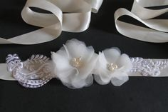 Bridal Sash Ivory Flowers and Crystals Fresh Water  by bridalcove