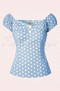 Collectif Clothing Dolores Vintage Polka Dot Top Green 14838 20141213 0003W