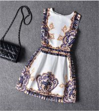 Summer Dress 2016 Dresses For Girls of 6-20 years Sleeveless Printed Big Size Princess Dress Teenagers Kids Clothes(China (Mainland))