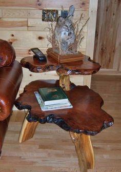 Mesa lateral de torra de madeira