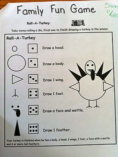 Roll A Turkey game with dice & drawing.