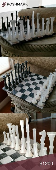 Chess set One of a kind. Hand carved. White onyx and marble Chee's set. Please see all photos for full description and details. One of the rooks was broken but has been repaired. Other