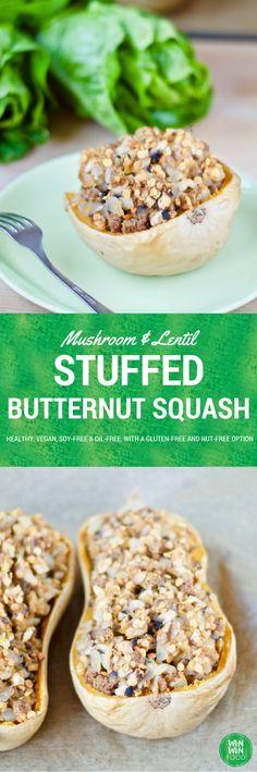 Stuffed Butternut Squash | WIN-WINFOOD.com #healthy #vegan #oilfree #soyfree and optionally #glutenfree
