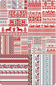 Slavic Folk Redwork (folk work, rushnyk, mostly post SCA period examples with some earlier influences) Russian Embroidery, Folk Embroidery, Cross Stitch Embroidery, Textile Prints, Textile Patterns, Textiles, Russian Folk Art, Art Costume, Sewing Baskets