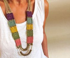 Woven Boho NecklaceBead Hemp Necklace Tribal by totalhandmadeD Women's Jewelry Long woven beaded necklace, fiber tapestry weaving neck piece, statement ethnic tribal jewelry, gypsy boho wedding , unique gifts for women Hemp Necklace, Hemp Jewelry, Gypsy Jewelry, Textile Jewelry, Tribal Necklace, Fabric Jewelry, Tribal Jewelry, Beaded Necklace, Crochet Necklace