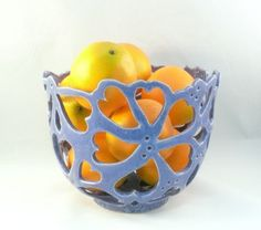 Collectible Art Vessel, Cut Out Bowl in Purple, Art Object, Ceramic Sculpture, Artistic Fruit Bowl, Father's Day or Wedding Gift