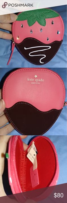 Kate Spade Coin Purse Adorable kate spade strawberry coin purse. Used it to carry extra cards briefly then stored away in a air tight container. Offers welcomed! kate spade Bags Clutches & Wristlets