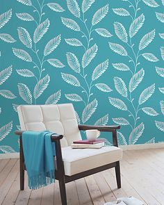 Rue La La — Brewster Accents Aubrey Aqua Modern Leaf Trail Wallpaper