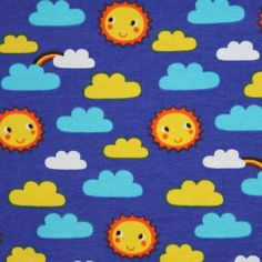 This adorable fabric has rows of smiling suns, tiny rainbows and turquoise, yellow and white clouds on a mid royal blue background. The fabric is a...
