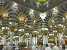 """Inside of Masjid al Nabawi, Medina. Masjid al Nabawi was built on the site of Muhammad SAW house and is where he is currently buried. http://www.religionfacts.com/islam/places/medina.htm Medina is the second holy place to Muslims. It's nickname is """"City of the Prophet"""". Medina was the city Muhammad SAW fled when he was driven out of Mecca. This is where he gained his first followers"""