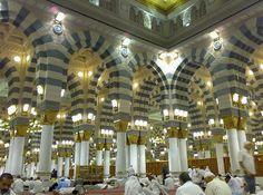 Al-Nabawi (Prophet) Mosque, Medina, Saudi Arabia.