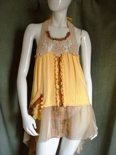 Altered couture summer halter tunic Reconstructed clothing Upcycled t-shirt  refashioned dress