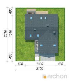 gotowy projekt Dom w jaskierkach sytuacja Modern Bungalow Exterior, Modern Family House, Locker Storage, Pergola, Projects To Try, Floor Plans, Building, Snake, Anna