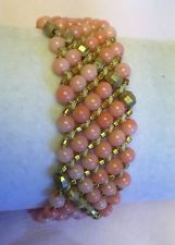 NWOT AUTH CHAN LUU Salmon Coral Mix and Gold Bracelet on Brown Leather