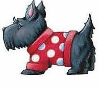 Mary Engelbreits Black Scottie Terrier Dogs in Red Jackets 25 Wallies Stickers