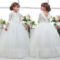 Three Quater Sleeves Special Occasion Gown Flower Girl Dresses Girls Pageant Dresses First Communion Dresses Holy Dresses Little Girls Easter Dresses Little Girls Outfits From Glamorousqueen1, $86.44| Dhgate.Com