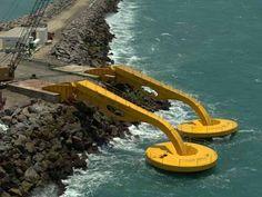 """El funcionamiento parte de grandes """"brazos mecánicos"""" que fueron instalados en el muelle del Puerto de Pecém generan energía verde."""