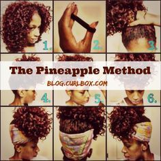 On the blog! How to avoid waking up with a head full of frizzy, unmanageable hair using 'The Pineapple Method.' The pineapple hairstyle method on different styles of hair & curls. Cute updo DIY, learn how to do it on long hair and short, with or without scarves with tutorialson natural hair. http://www.shorthaircutsforblackwomen.com/top-50-best-selling-natural-hair-products-updated-regularly/