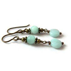 Rustic Amazonite Earrings Mint Green Drops Bohemian Turquoise Earrings... ($18) ❤ liked on Polyvore featuring jewelry, earrings, boho earrings, antique brass earrings, dangle earrings, bohemian earrings and turquoise jewelry