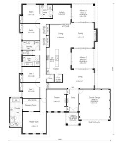 Choice Series - The Luxury - Floorplan Could loose two of those bedrooms and make the master suite larger Best House Plans, Dream House Plans, Modern House Plans, Small House Plans, House Floor Plans, Home Office Design, House Design, House Plans Australia, Steel Building Homes
