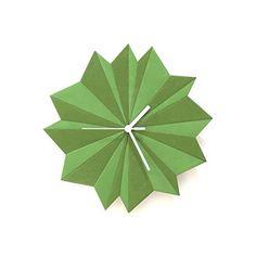 Reloj de pared - Origami verde