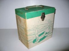"""Vintage 1960s Record Case 45s Platter Pak Carrier Box Green Dancers 7"""" Vinyl Storage by JustCoolRecords on Etsy https://www.etsy.com/listing/129863718/vintage-1960s-record-case-45s-platter"""