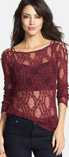 NWT Free People 'Star Lace Crisscross'  lace top Nwt Free People lace top in color Merlot and is a size XS.   A latticed floral design gives lacy dimension to a sheer, long-sleeve layering top traced at the shoulders with peekaboo crisscross details. Sheer; bralette base layer shown not included. (Remember, no bralette included like shown in picture) 55% cotton, 43% nylon, 2% spandex.  Machine wash cold, tumble dry low. Free People Tops Tees - Long Sleeve