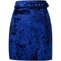 MSGM crushed velvet skirt (€135) via Polyvore featuring skirts, bottoms, blue, saias, юбки, msgm, crushed velvet skirt, blue skirt and msgm skirt