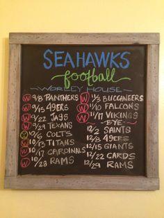 SEATTLE SEAHAWK 2014 schedule!! #chalkboard