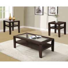 Found it at Wayfair - Golder 3 Piece Coffee Table Set  sc 1 st  Pinterest & Coaster Home Furnishings 3 Piece Table Group-Warm Bourbon finish ...