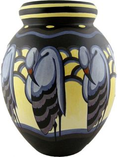 Charles Catteau, French Art Deco vase with herons