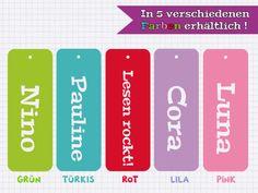 5er Set  Lesezeichen ♥ Wunschname & Farbe von Kuschelich auf DaWanda.com