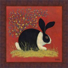country folkart | Blue Berry Bunny Country Folk Art Rabbit Print Framed