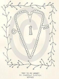 Key To My Heart Stitchery