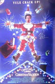 Chevy Chase Autographed 27x40 Christmas Vacation Movie Poster PSA/DNA Stock