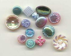 16 iridescent glass vintage buttons, assorted