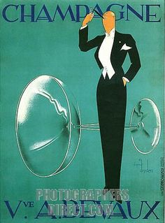 Champagne Devaux ~ The famous 1930s Art Deco Poster for the French House ~ by Ernst Dryden