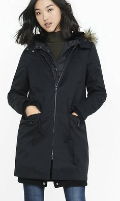 Black 2-IN-1 Puffer And Anorak Coat | Express